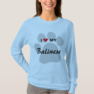 I Love (Heart) My Balinese Pawprint T-Shirt
