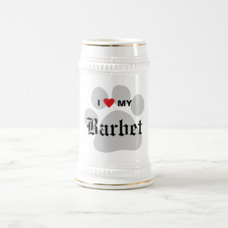 I Love (Heart) My Barbet Paw Print Design Beer Stein