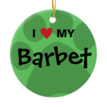 I Love (Heart) My Barbet Paw Print Design Ceramic Ornament