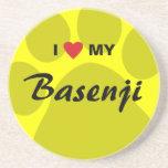 I Love (Heart) My Basenji Paw Print Coasters