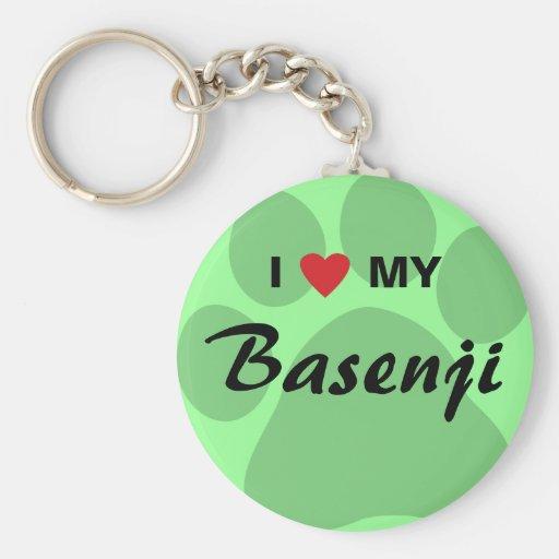 I Love (Heart) My Basenji Paw Print Key Chain