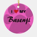I Love (Heart) My Basenji Paw Print Ornament
