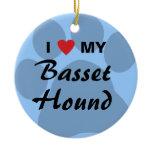 I Love (Heart) My Basset Hound Ceramic Ornament