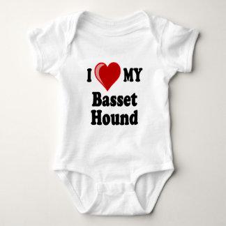 I Love (Heart) My Basset Hound Dog Baby Bodysuit