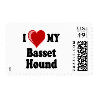 I Love (Heart) My Basset Hound Dog Postage Stamp