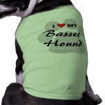 I Love (Heart) My Basset Hound Pawprint Shirt
