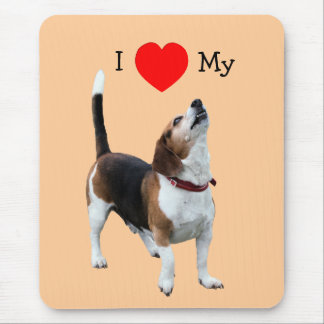 I Love Heart My Beagle Cute Dog Mousepad