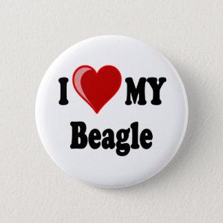 I Love (Heart) My Beagle Dog Pinback Button