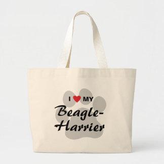 I Love (Heart) My Beagle-Harrier Jumbo Tote Bag