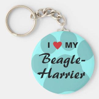I Love (Heart) My Beagle-Harrier Basic Round Button Keychain
