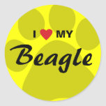 I Love (Heart) My Beagle Pawprint Classic Round Sticker