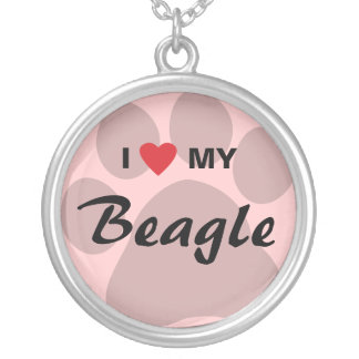 I Love (Heart) My Beagle Pawprint Round Pendant Necklace