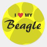 I Love (Heart) My Beagle Pawprint Round Stickers