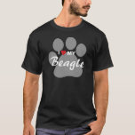 I Love (Heart) My Beagle Pawprint T-Shirt