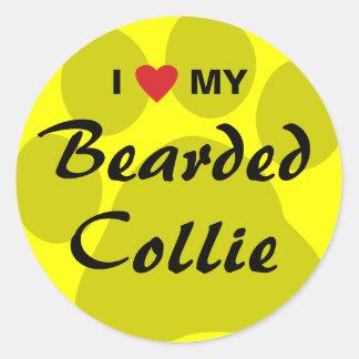 I Love (Heart) My Bearded Collie Pawprint Round Sticker