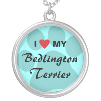 I Love (Heart) My Bedlington Terrier Silver Plated Necklace