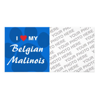 I Love (Heart) My Belgian Malinois Pawprint Card