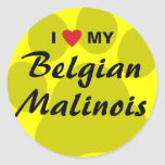 I Love (Heart) My Belgian Malinois Pawprint Classic Round Sticker