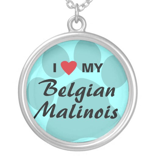 I Love (Heart) My Belgian Malinois Pawprint Round Pendant Necklace