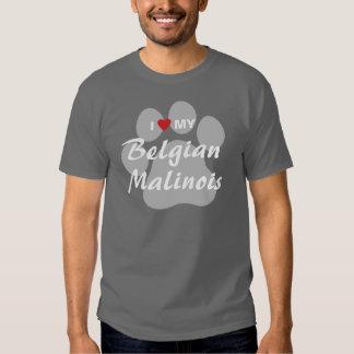 I Love (Heart) My Belgian Malinois Pawprint Shirts