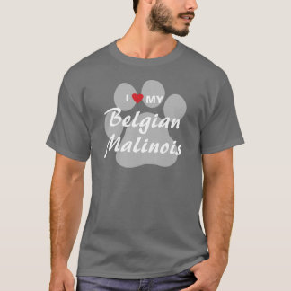 I Love (Heart) My Belgian Malinois Pawprint T-Shirt