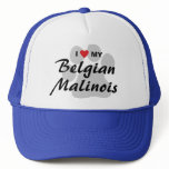 I Love (Heart) My Belgian Malinois Pawprint Trucker Hat