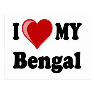 I Love (Heart) My Bengal Cat Postcards