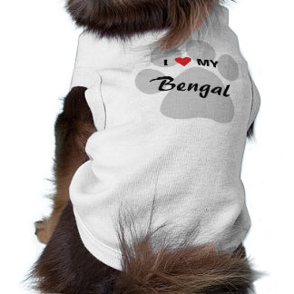I Love (Heart) My Bengal Pawprint Pet Clothing