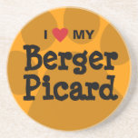 I Love (Heart) My Berger Picard Paw Print Sandstone Coaster