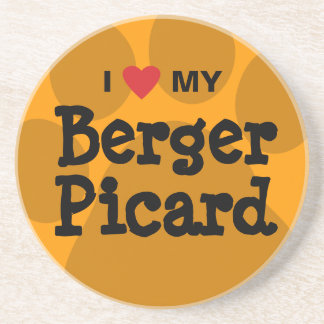 I Love (Heart) My Berger Picard Paw Print Sandstone Coaster