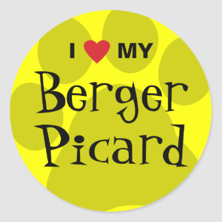 I Love (Heart) My Berger Picard Paw Print Round Stickers