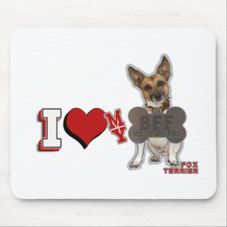 I LOVE HEART MY BFF FOX TERRIER MOUSE PAD