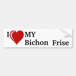I Love (Heart) My Bichon Frise Dog Bumper Sticker