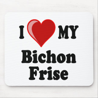 I Love (Heart) My Bichon Frise Dog Mouse Pad