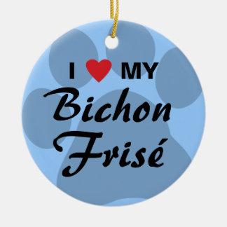 I Love (Heart) My Bichon Frise Christmas Ornament