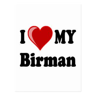 I Love (Heart) My Birman Cat Postcard
