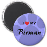 I Love (Heart) My Birman Pawprint Magnet