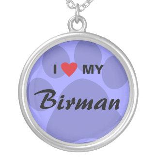 I Love (Heart) My Birman Round Pendant Necklace