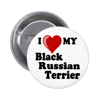 I Love (Heart) My Black Russian Terrier Dog Pin