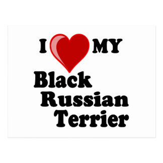 I Love (Heart) My Black Russian Terrier Dog Postcard