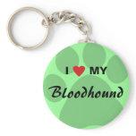I Love (Heart) My Bloodhound Pawprint Keychain