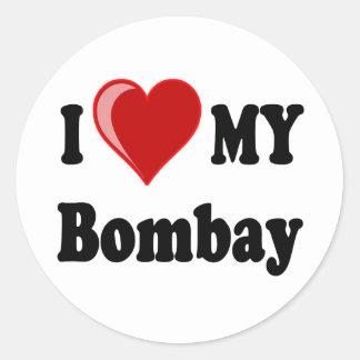 I Love (Heart) My Bombay Cat Classic Round Sticker