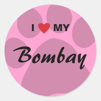 I Love (Heart) My Bombay Pawprint Classic Round Sticker