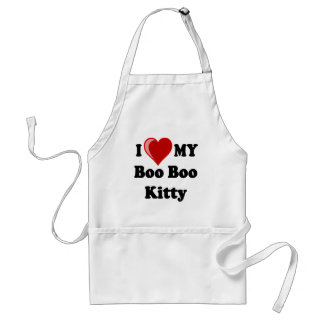 I Love (Heart) My Boo Boo Kitty Cat Adult Apron
