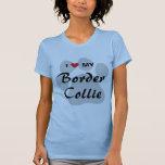 I Love (Heart) My Border Collie Pawprint T-Shirt