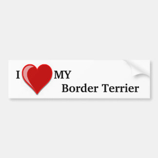 I Love (Heart) My Border Terrier Dog Bumper Stickers