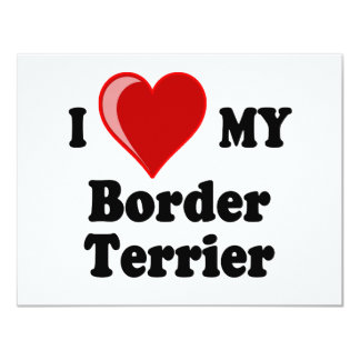 I Love (Heart) My Border Terrier Dog Card
