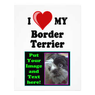 I Love (Heart) My Border Terrier Dog Personalized Flyer