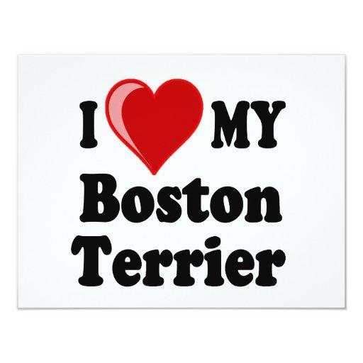 I Love (Heart) My Boston Terrier Dog Custom Announcement
