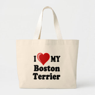 I Love (Heart) My Boston Terrier Dog Large Tote Bag